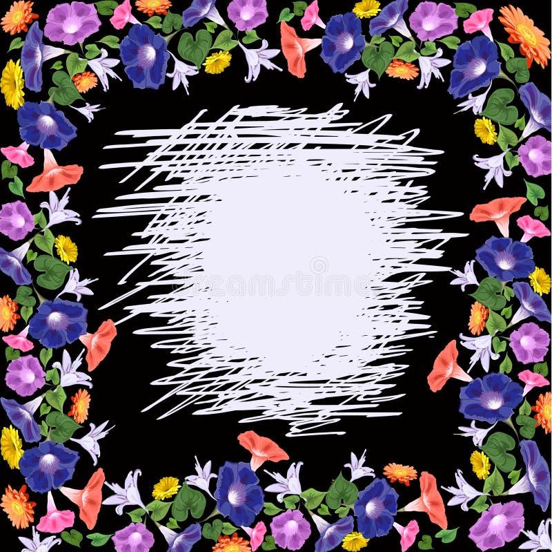 πλαίσιο των λουλουδιών σε μια μαύρη σβημένη υπόβαθρο θέση στο κέντρο απεικόνιση αποθεμάτων