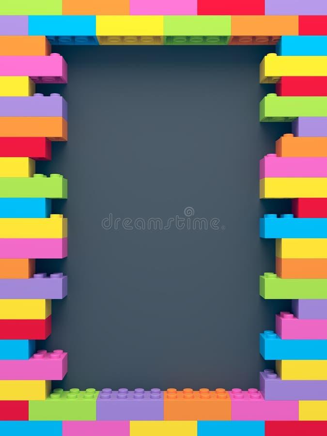 Πλαίσιο των συσσωρευμένων ζωηρόχρωμων τούβλων παιχνιδιών απεικόνιση αποθεμάτων