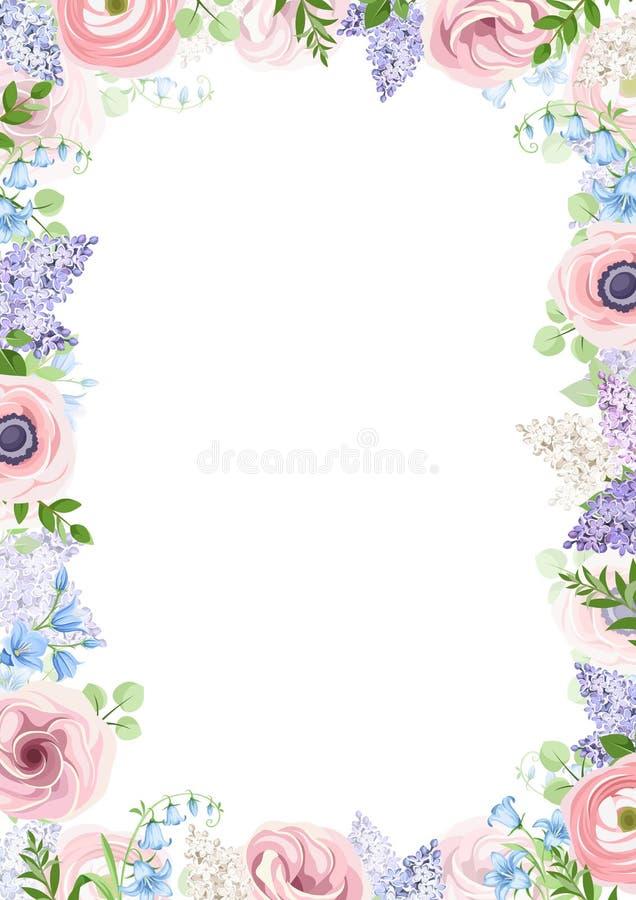 Πλαίσιο υποβάθρου με τα ρόδινα, μπλε και πορφυρά λουλούδια επίσης corel σύρετε το διάνυσμα απεικόνισης διανυσματική απεικόνιση