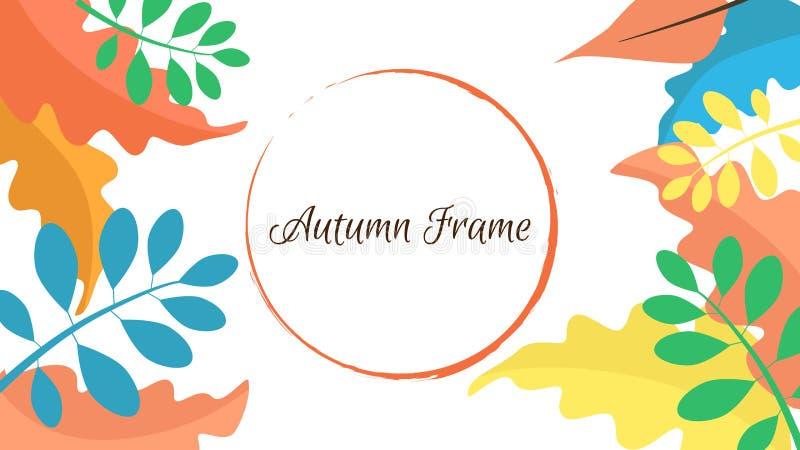 Πλαίσιο φιαγμένο από ζωηρόχρωμα φύλλα φθινοπώρου και στρογγυλή μορφή διανυσματική απεικόνιση