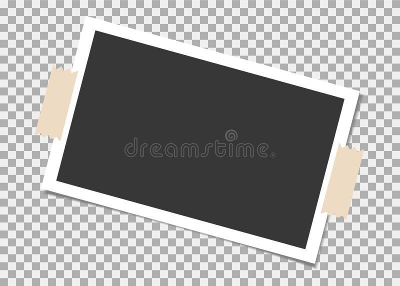 Πλαίσιο φωτογραφιών με την κολλώδη ταινία στο υπόβαθρο απομονώσεων Πρότυπο, κενό για τη φωτογραφία ή εικόνα ελεύθερη απεικόνιση δικαιώματος
