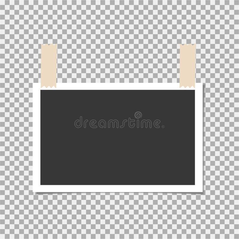 Πλαίσιο φωτογραφιών με την κολλώδη ταινία στο υπόβαθρο απομονώσεων Πρότυπο, κενό για τη φωτογραφία ή εικόνα διανυσματική απεικόνιση