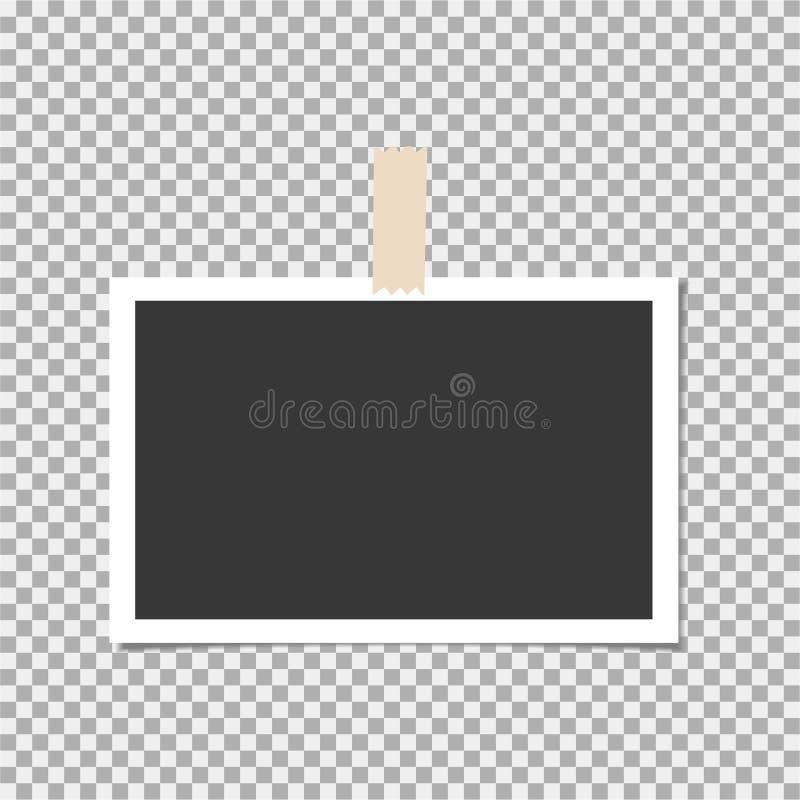 Πλαίσιο φωτογραφιών με την κολλώδη ταινία στο υπόβαθρο απομονώσεων Πρότυπο, κενό για τη φωτογραφία ή εικόνα απεικόνιση αποθεμάτων