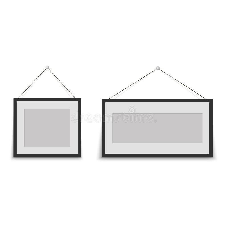 Πλαίσιο φωτογραφιών με την κρεμάστρα στο άσπρο υπόβαθρο διάνυσμα διανυσματική απεικόνιση
