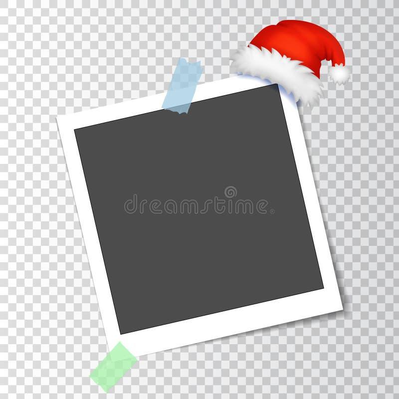 Πλαίσιο φωτογραφιών με το καπέλο Santa διανυσματική απεικόνιση