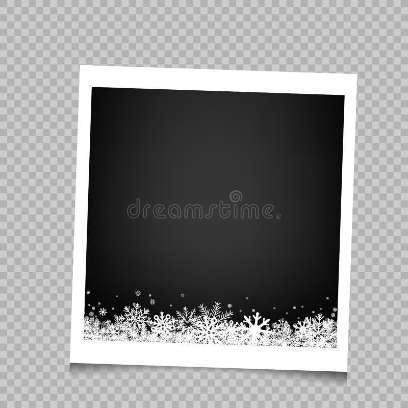 Πλαίσιο φωτογραφιών χιονιού Χριστουγέννων απεικόνιση αποθεμάτων