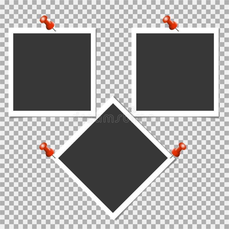 Πλαίσιο φωτογραφιών Polaroid με την καρφίτσα στο γκρίζο υπόβαθρο επίσης corel σύρετε το διάνυσμα απεικόνισης διανυσματική απεικόνιση