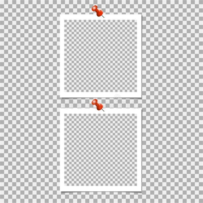 Πλαίσιο φωτογραφιών Polaroid με την καρφίτσα στο γκρίζο υπόβαθρο επίσης corel σύρετε το διάνυσμα απεικόνισης ελεύθερη απεικόνιση δικαιώματος