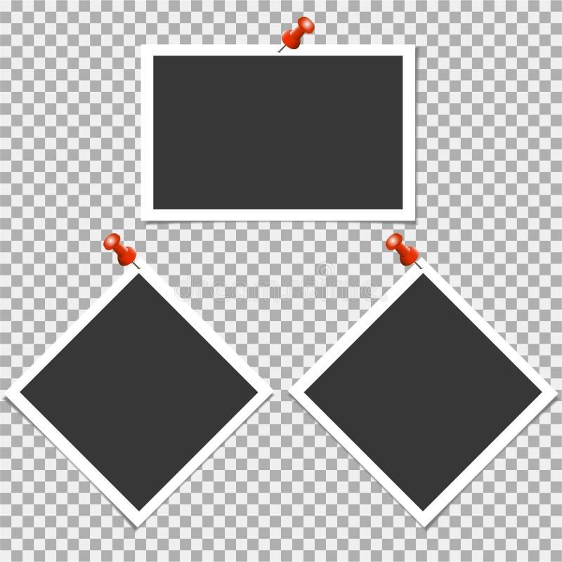 Πλαίσιο φωτογραφιών Polaroid με την καρφίτσα στο γκρίζο υπόβαθρο επίσης corel σύρετε το διάνυσμα απεικόνισης απεικόνιση αποθεμάτων