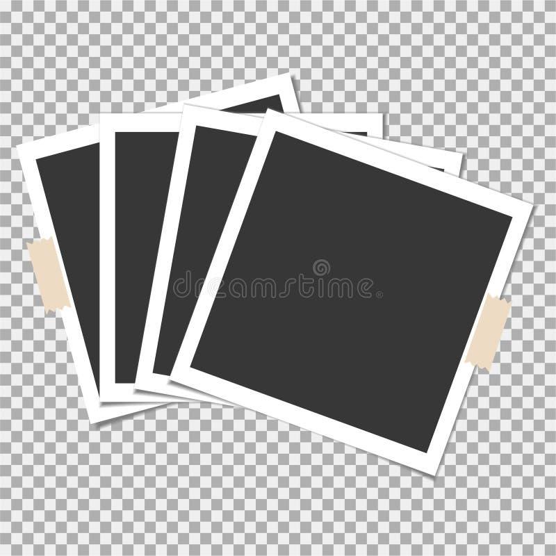 Πλαίσιο φωτογραφιών Polaroid με την κολλώδη ταινία στο γκρίζο υπόβαθρο Πρότυπο, κενό για την καθιερώνουσα τη μόδα φωτογραφία σας ελεύθερη απεικόνιση δικαιώματος