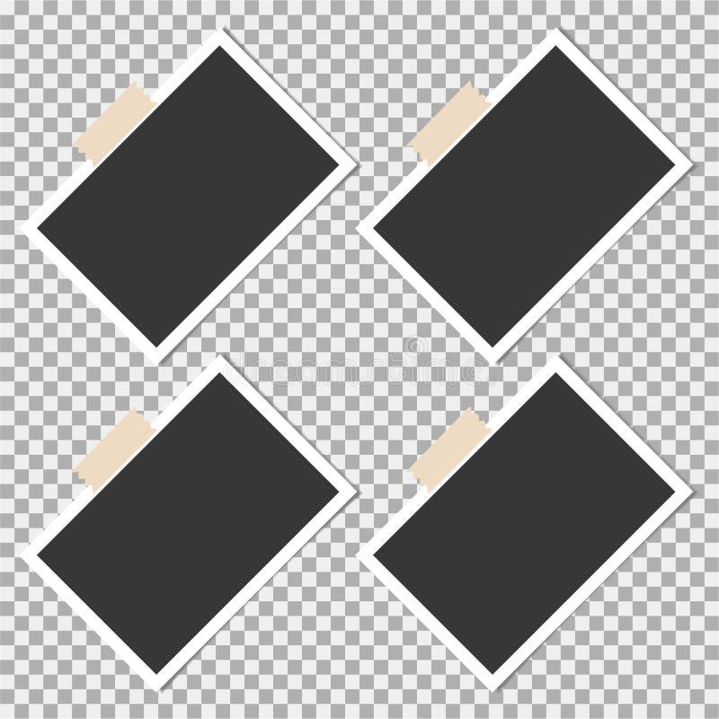 Πλαίσιο φωτογραφιών Polaroid με την κολλώδη ταινία στο γκρίζο υπόβαθρο Πρότυπο, κενό για την καθιερώνουσα τη μόδα φωτογραφία σας διανυσματική απεικόνιση
