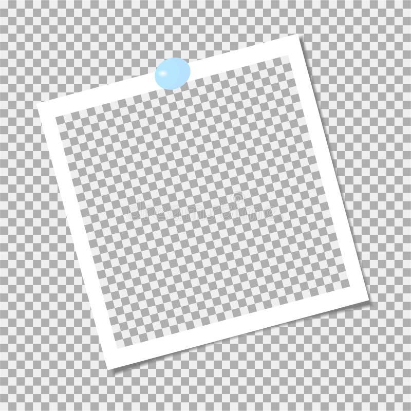 Πλαίσιο φωτογραφιών Polaroid με την μπλε καρφίτσα δρύινο διάνυσμα προτύπων κορδελλών φύλλων δαφνών συνόρων ελεύθερη απεικόνιση δικαιώματος