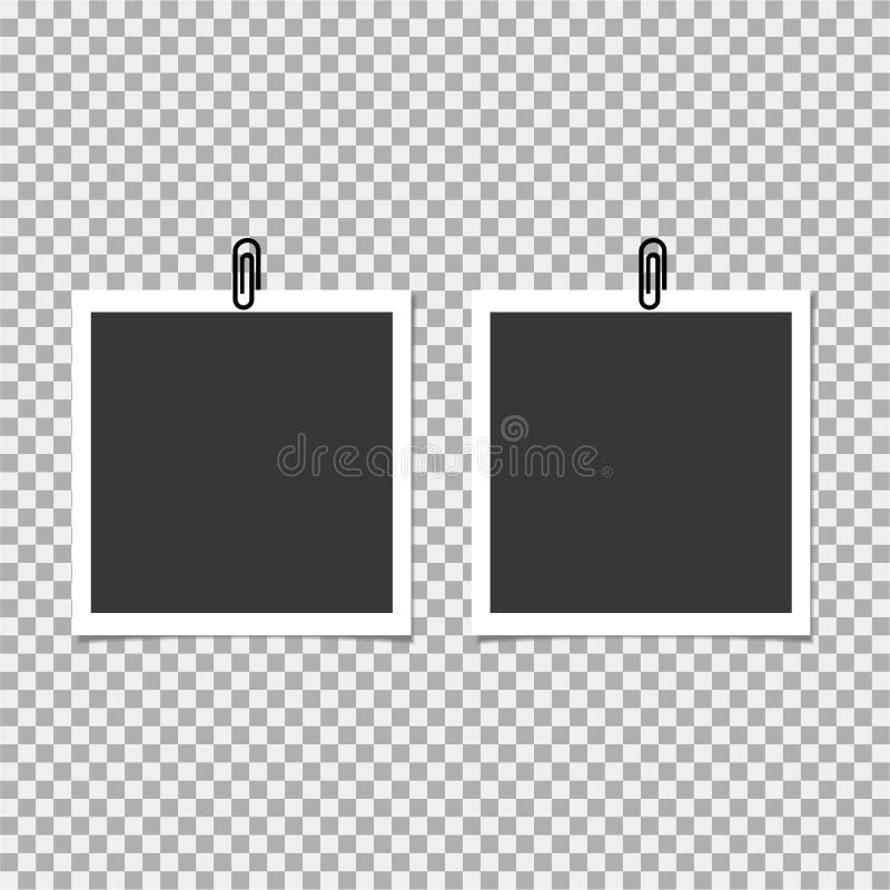 Πλαίσιο φωτογραφιών Polaroid με το συνδετήρα στο γκρίζο υπόβαθρο επίσης corel σύρετε το διάνυσμα απεικόνισης διανυσματική απεικόνιση