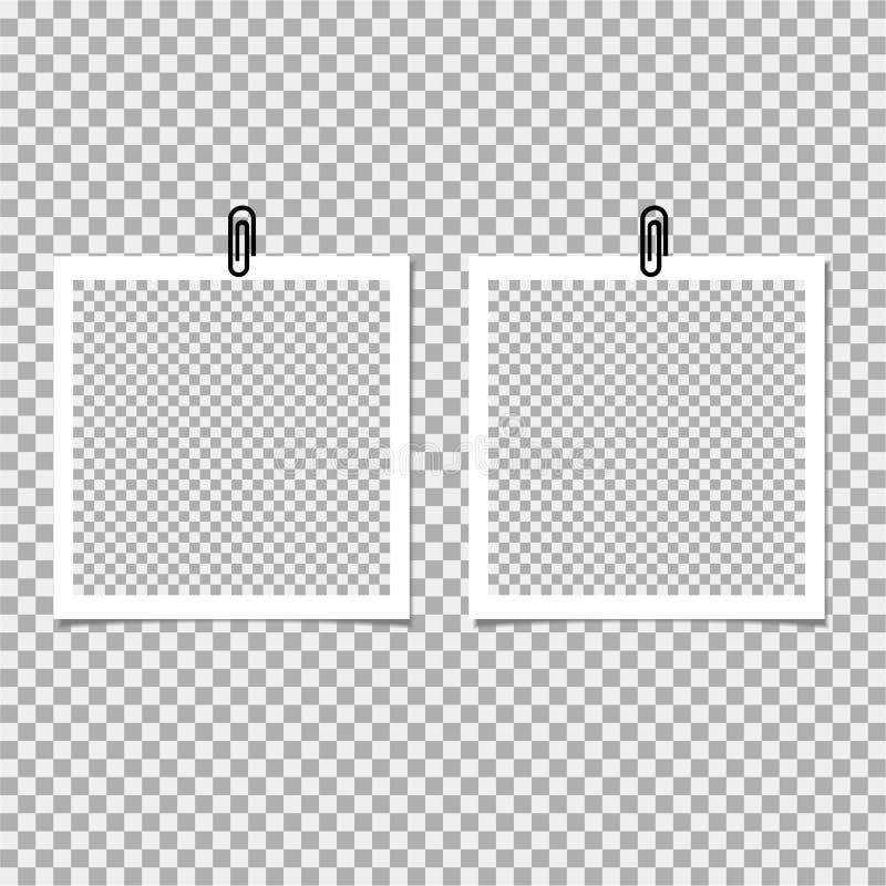 Πλαίσιο φωτογραφιών Polaroid με το συνδετήρα στο γκρίζο υπόβαθρο επίσης corel σύρετε το διάνυσμα απεικόνισης απεικόνιση αποθεμάτων