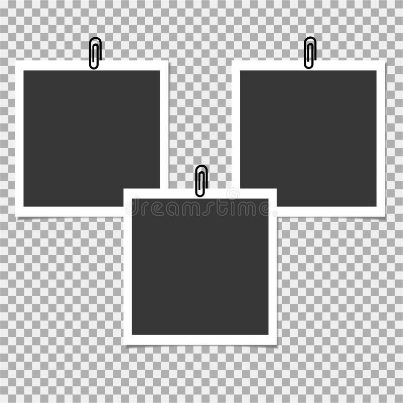 Πλαίσιο φωτογραφιών Polaroid με το συνδετήρα στο γκρίζο υπόβαθρο επίσης corel σύρετε το διάνυσμα απεικόνισης ελεύθερη απεικόνιση δικαιώματος