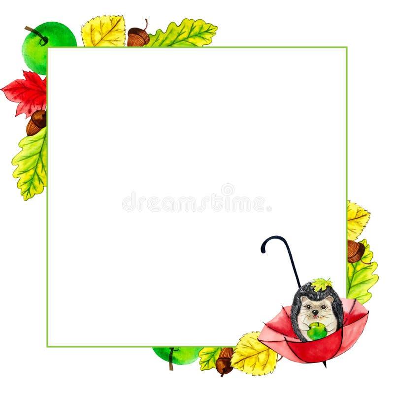 Πλαίσιο φύλλα hedgehog, ομπρέλα και φθινοπωρινά φύλλα χρώμα διανυσματική απεικόνιση