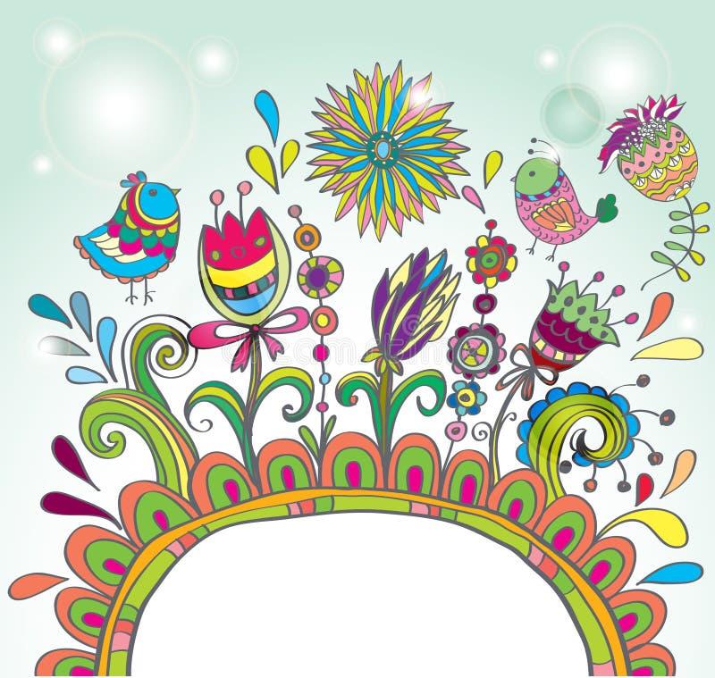 Πλαίσιο χρώματος Doodle με τα πουλιά και τα λουλούδια διανυσματική απεικόνιση