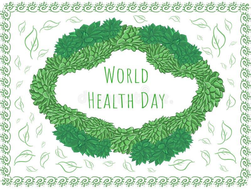 Πλαίσιο Echeveria χαιρετισμού - ημέρα παγκόσμιας υγείας διανυσματική απεικόνιση