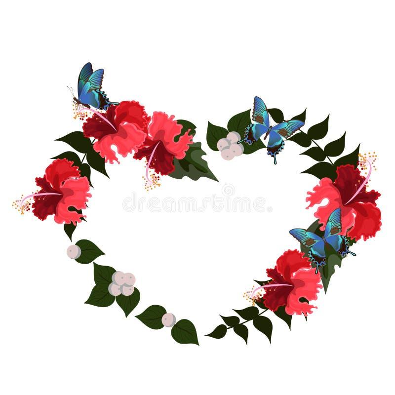 Πλαίσιο hibiscus υπό μορφή καρδιάς Διανυσματικό πρότυπο που απομονώνεται στο άσπρο υπόβαθρο διανυσματική απεικόνιση