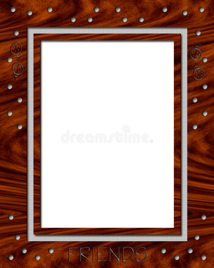 πλαίσιο ladybug ξύλινο διανυσματική απεικόνιση