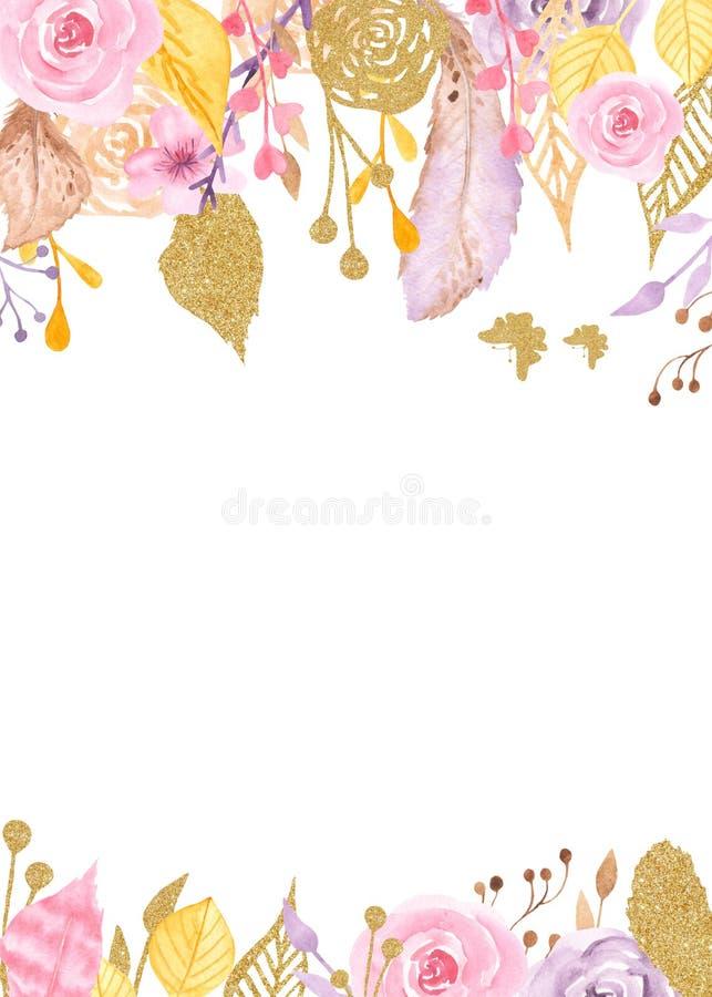 Πλαίσιο Watercolor με τα λουλούδια, τριαντάφυλλα, φύλλα, χρυσά φυτά διανυσματική απεικόνιση