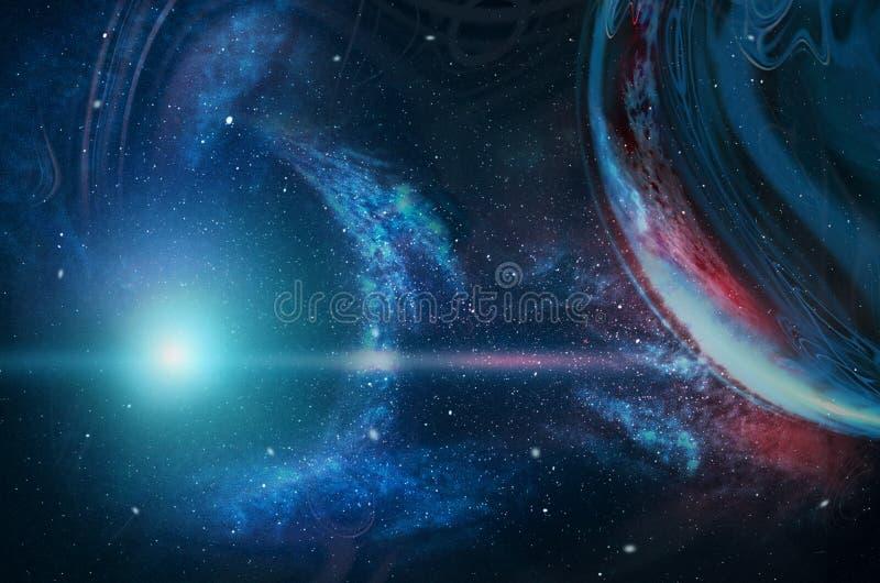 Πλανήτες, αστέρια και γαλαξίες στο μακρινό διάστημα που παρουσιάζει την ομορφιά της εξερεύνησης του διαστήματος r διανυσματική απεικόνιση