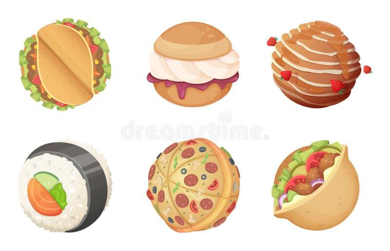 Πλανήτες διαστημικών τροφίμων Κόσμος φαντασίας κινούμενων σχεδίων παιχνιδιών από τα burgers γλυκών καραμελών και πίτσα με τα αστε απεικόνιση αποθεμάτων