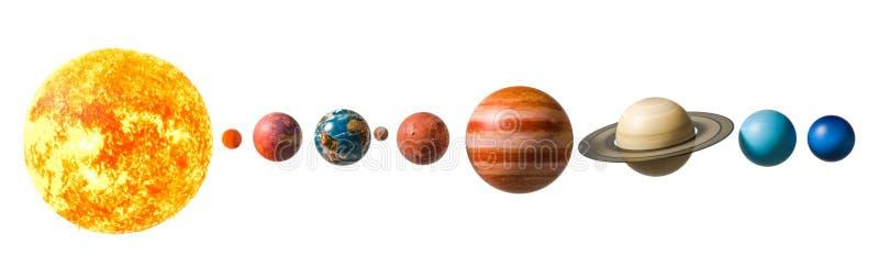 Πλανήτες του ηλιακού συστήματος, τρισδιάστατη απόδοση διανυσματική απεικόνιση