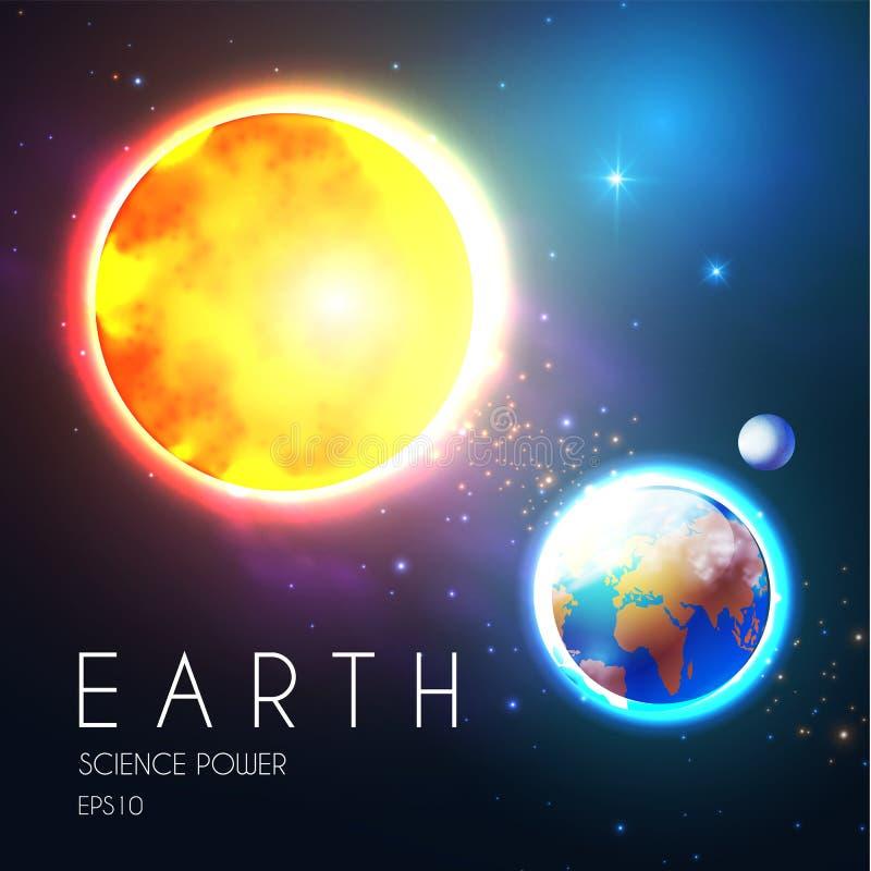 Πλανήτης Γη και λάμποντας ήλιος στο διάστημα με τα αστέρια Univerce nackground Ρεαλιστικό ουράνιο σχέδιο ελεύθερη απεικόνιση δικαιώματος