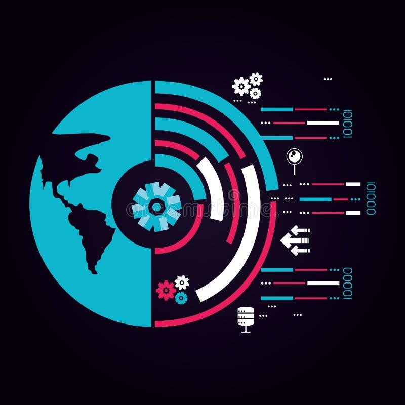 Πλανήτης Γη με το εικονίδιο κέντρων δεδομένων ελεύθερη απεικόνιση δικαιώματος