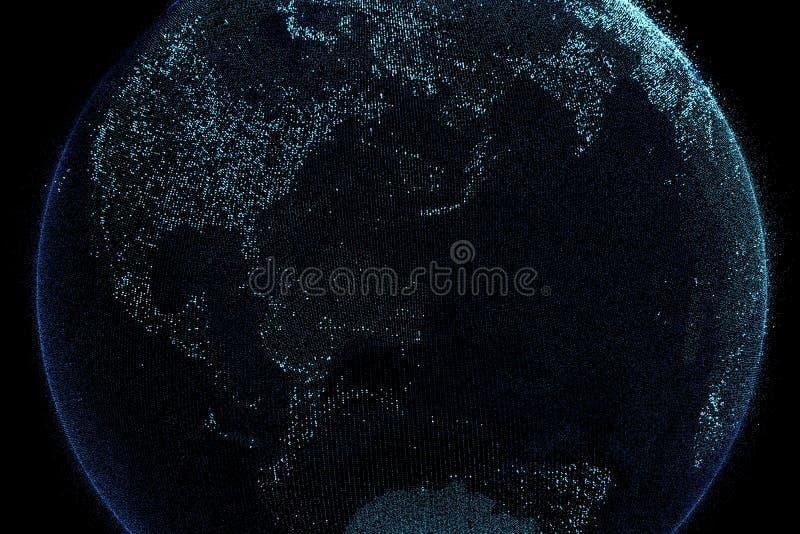 Πλανήτης Γη στη σύνδεση ψηφιακών δικτύων, έννοια Διαδικτύου διανυσματική απεικόνιση