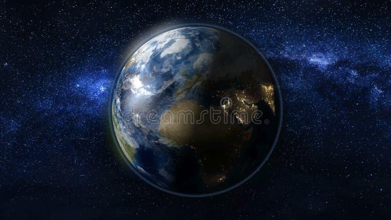 Πλανήτης Γη στο μαύρο και μπλε κόσμο των αστεριών απεικόνιση αποθεμάτων