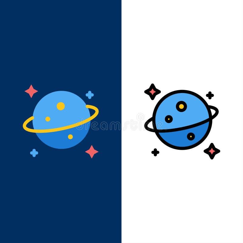 Πλανήτης, Κρόνος, διαστημικά εικονίδια Επίπεδος και γραμμή γέμισε το καθορισμένο διανυσματικό μπλε υπόβαθρο εικονιδίων διανυσματική απεικόνιση