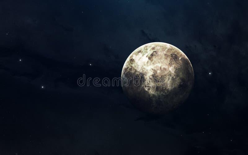 Πλανήτης του ηλιακού συστήματος, Αφροδίτη, στο ατελείωτο σκοτεινό διάστημα Εκπαιδευτική εικόνα Στοιχεία αυτής της εικόνας που εφο στοκ εικόνες
