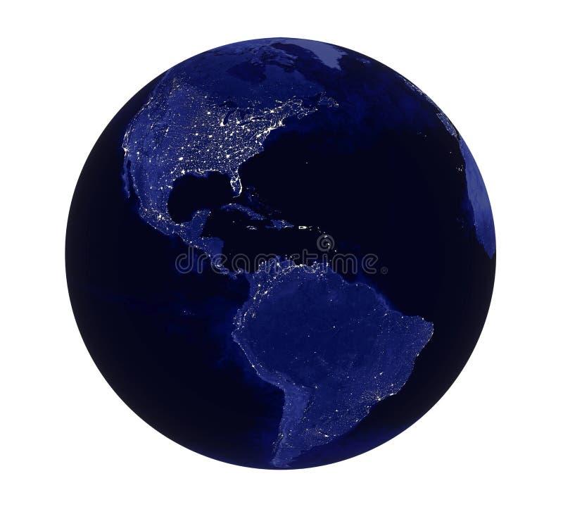 Πλανήτη Γη νύχτας άποψη της Αμερικής που απομονώνεται ελαφριά ελεύθερη απεικόνιση δικαιώματος