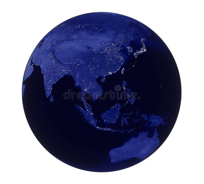 Πλανήτη Γη νύχτας άποψη της Ασίας που απομονώνεται ελαφριά διανυσματική απεικόνιση