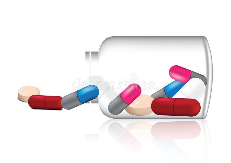 Πλαστές επάνω ρεαλιστικές χάπι και βιταμίνη ιατρικής μιγμάτων με την απεικόνιση υποβάθρου βάζων γυαλιού διανυσματική απεικόνιση