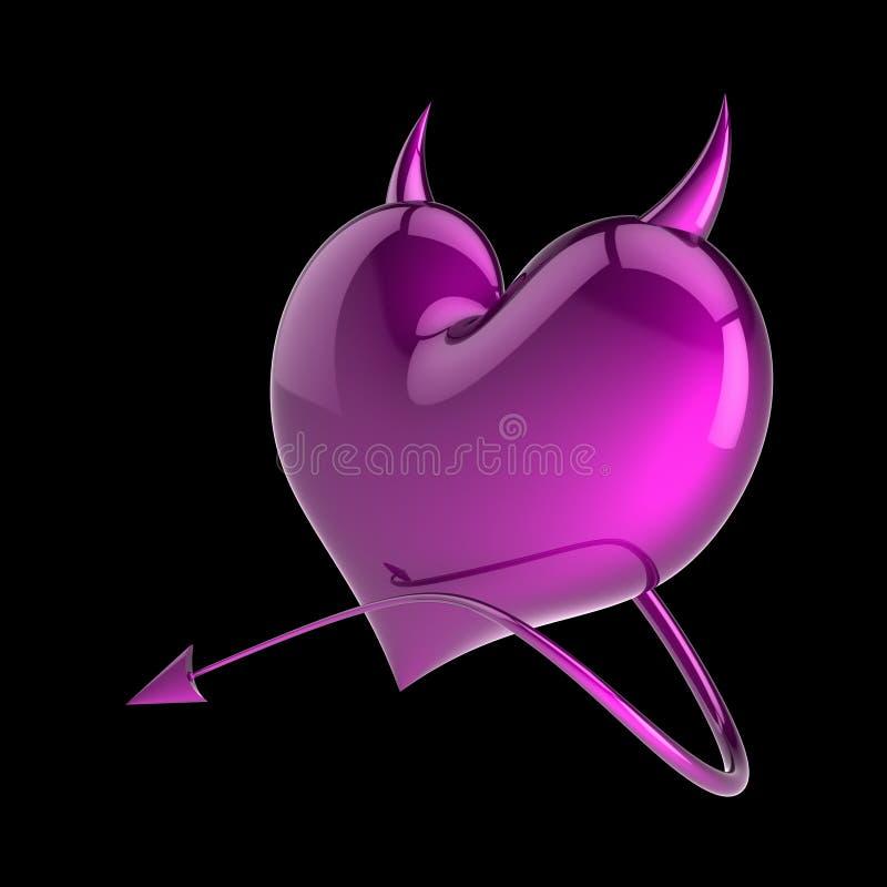 Πλαστή δηλητήριων μορφή καρδιών αγάπης πορφυρή με τα κέρατα και την ουρά διανυσματική απεικόνιση