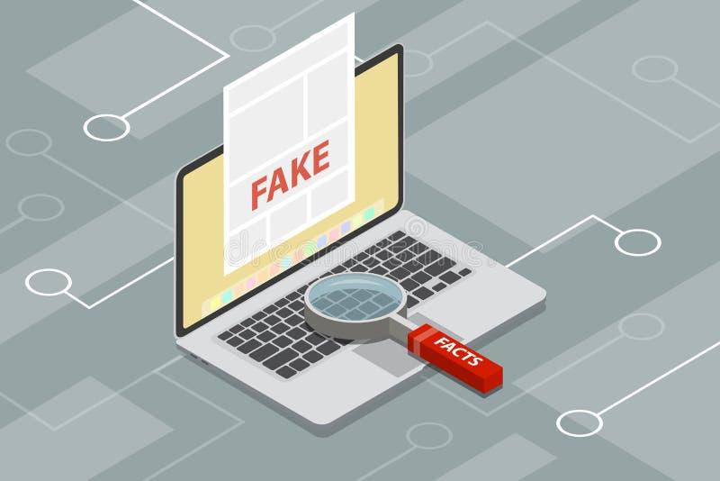 Πλαστή ειδήσεις ή ανίχνευση γεγονότος με την ενίσχυση - γυαλί απεικόνιση αποθεμάτων