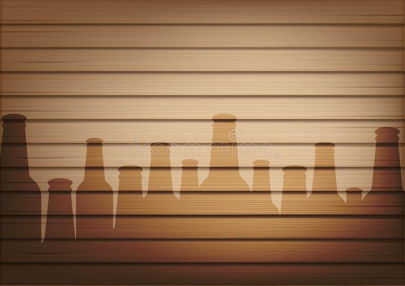 Πλαστή επάνω ρεαλιστική ξύλου και μπύρας μπουκαλιών γυαλιού απεικόνιση υποβάθρου σκιών αφηρημένη ελεύθερη απεικόνιση δικαιώματος