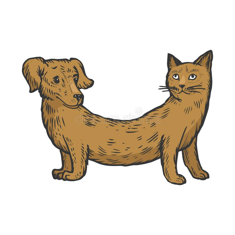 Πλαστή ζωική χάραξη σκίτσων χρώματος σκυλιών γατών απεικόνιση αποθεμάτων
