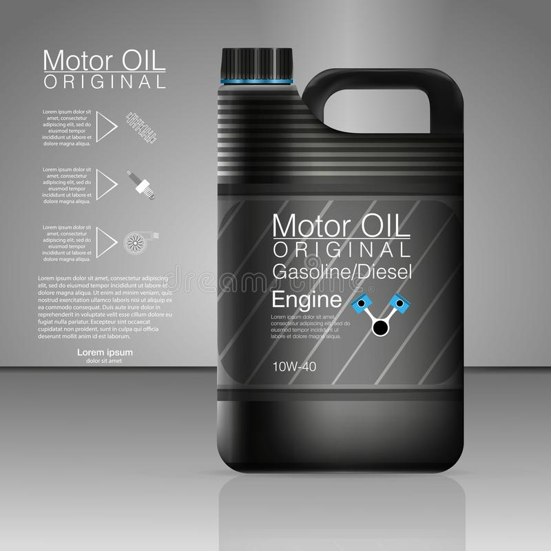 Πλαστικά δοχεία για το πετρέλαιο μηχανών και τα τεχνικά ρευστά Eps 10 διανυσματική μηχανή μπουκαλιών πετρελαίου μεταλλικών κουτιώ διανυσματική απεικόνιση