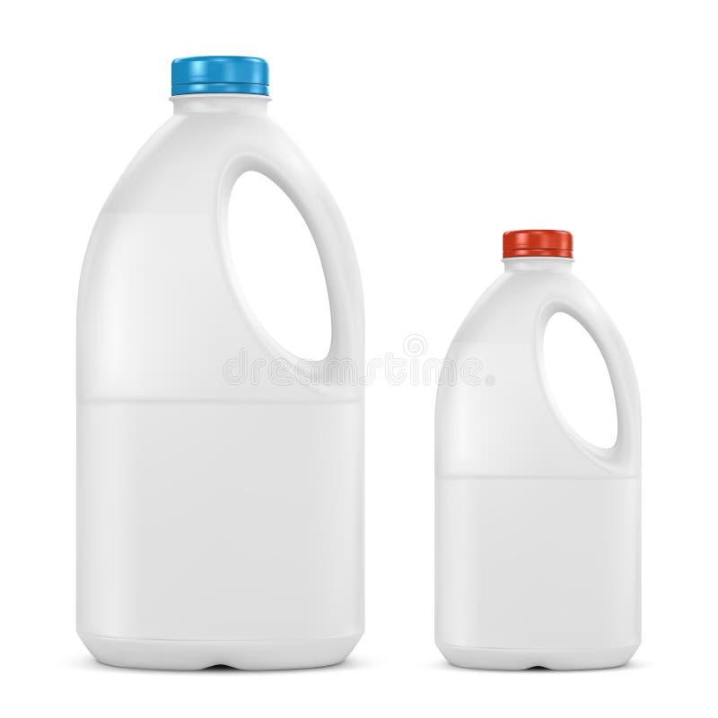 Πλαστικά εμπορευματοκιβώτια μπουκαλιών γάλακτος γαλονιού στοκ φωτογραφία