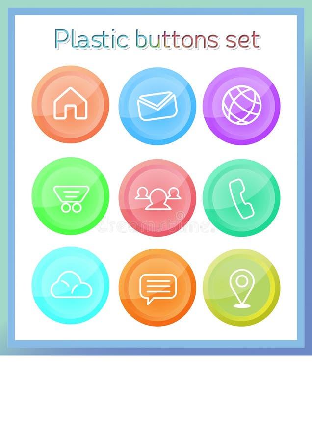 Πλαστικά κουμπιά καθορισμένα τρισδιάστατα για τον Ιστό απεικόνιση αποθεμάτων