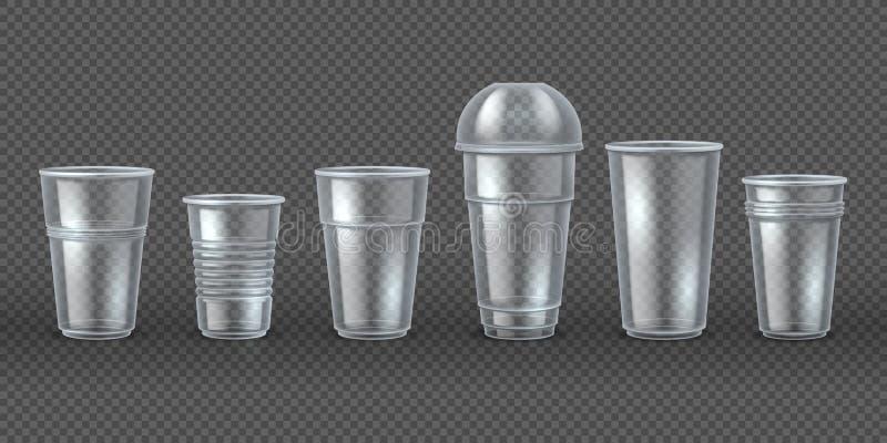 Πλαστικά φλυτζάνια Οι κούπες ποτών καφέ διάθεσης απομόνωσαν το πρότυπο, τη ρεαλιστική τρισδιάστατη συσκευασία για τα τρόφιμα και  ελεύθερη απεικόνιση δικαιώματος