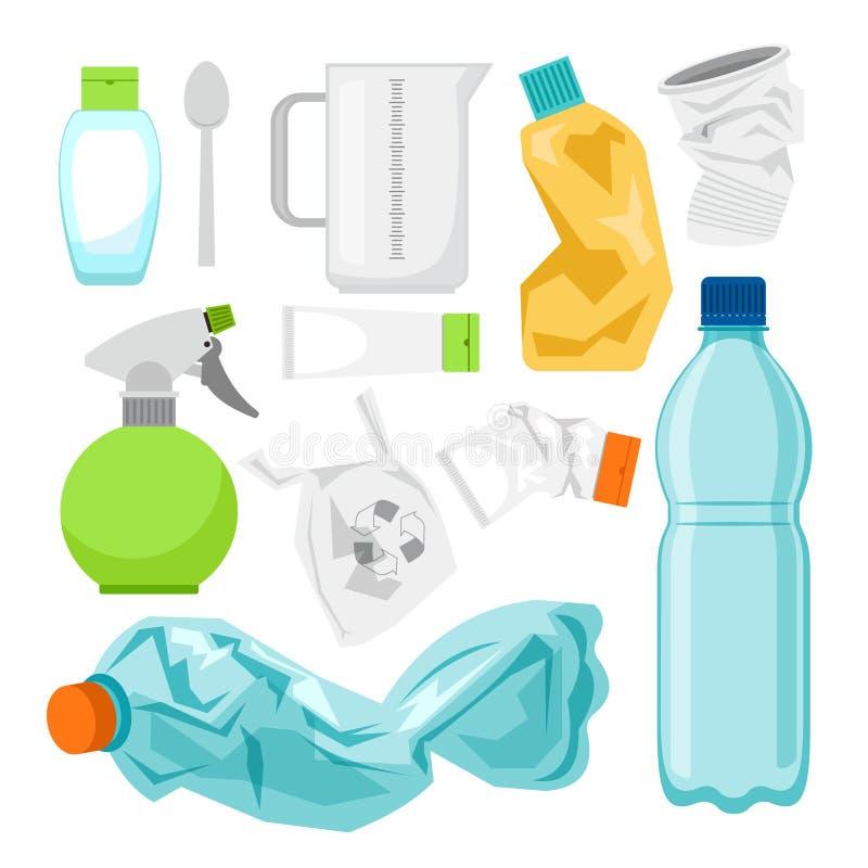 Πλαστική αποκομιδή αποβλήτων στο λευκό Πλαστικά μπουκάλια
