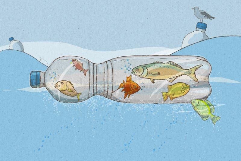 Πλαστική ρύπανση στη θάλασσα με τα ψάρια στα μπουκάλια στον ωκεανό ελεύθερη απεικόνιση δικαιώματος