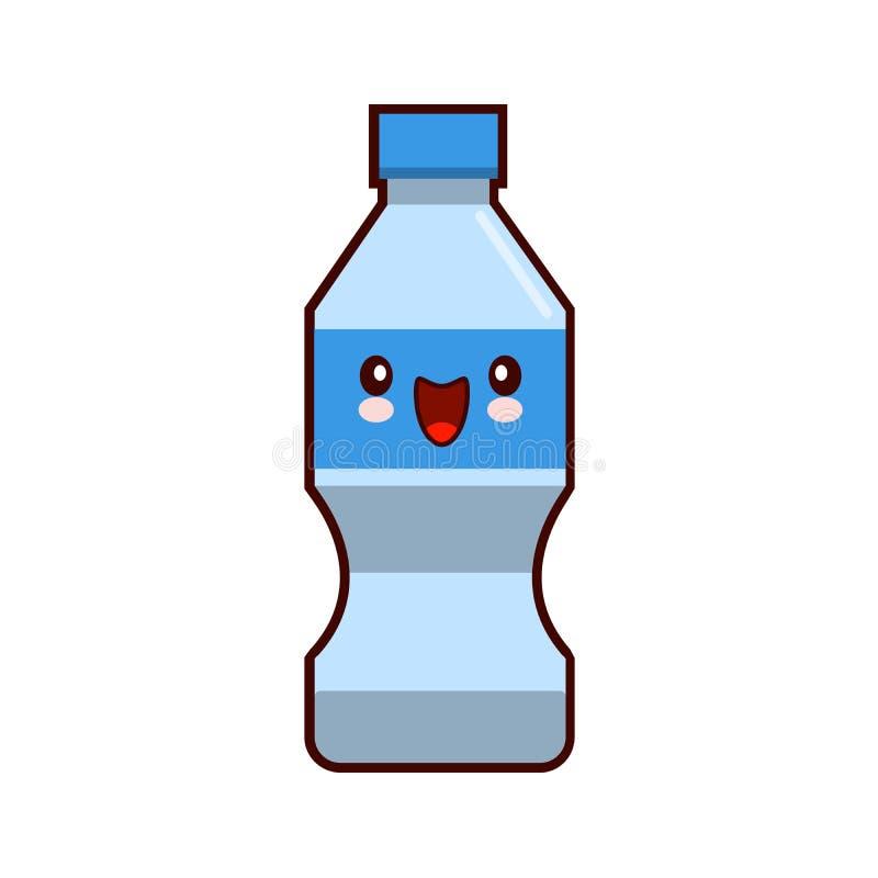 Πλαστικός χαρακτήρας Kawaii κινούμενων σχεδίων μπουκαλιών νερού που απομονώνεται στην άσπρη επίπεδη απεικόνιση υποβάθρου απεικόνιση αποθεμάτων