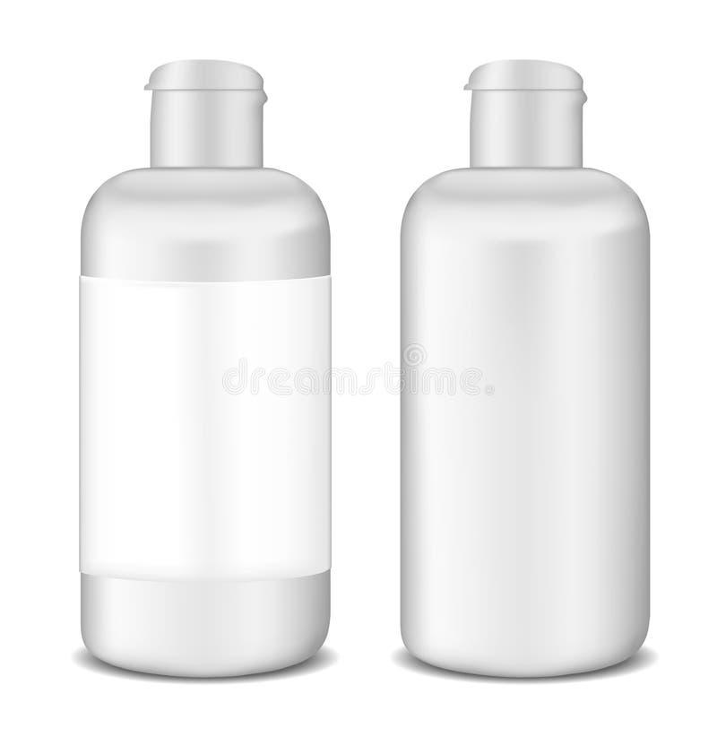 Πλαστικό άσπρο πρότυπο μπουκαλιών λοσιόν διανυσματική απεικόνιση
