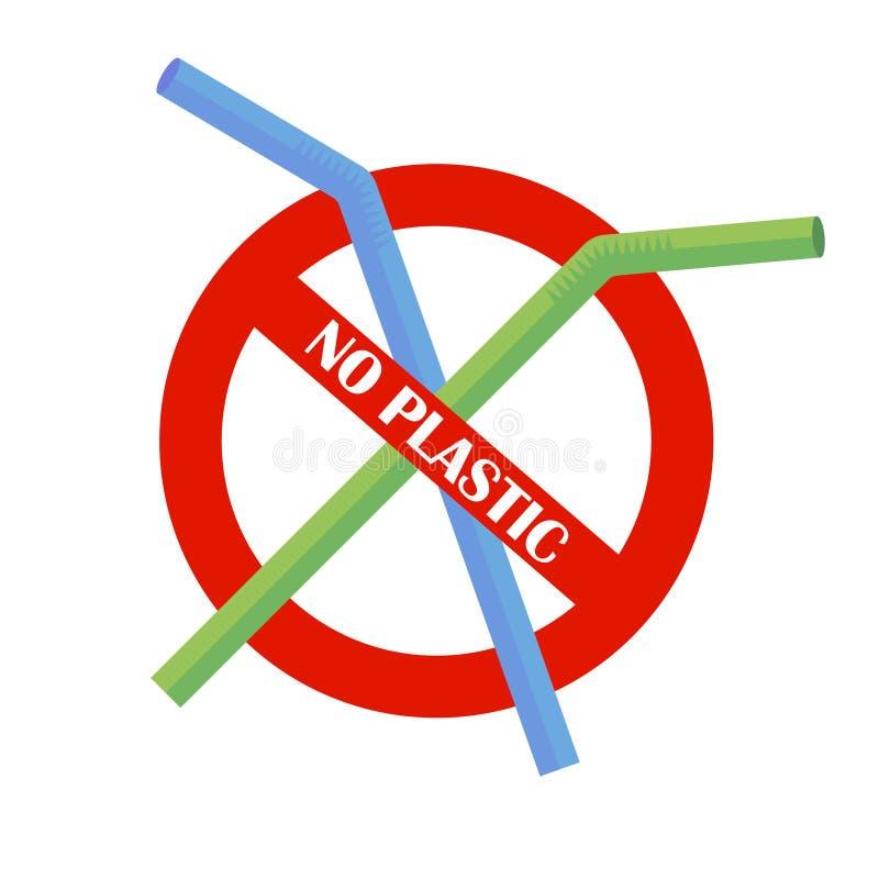 Πλαστικό άχυρο κατανάλωσης κανένα πλαστικό Πρόβλημα ρύπανσης επάνω από ποδηλάτων καναλιών eco ενεργειακών το φιλικό προς το περιβ διανυσματική απεικόνιση
